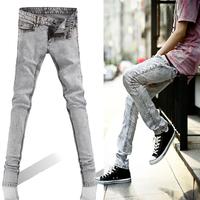 Fashion male slim jeans vintage light color flower snow white non-mainstream skinny pants pencil pants