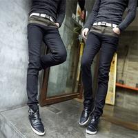 2014 pants slim black jeans whisker denim skinny pants male trousers