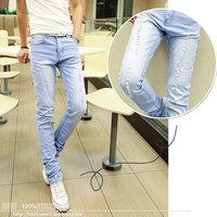 Summer slim jeans tianlan pencil skinny pants light color hole beggar pants