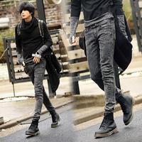 Spring 2014 jeans male slim dark grey skinny pants pencil pants