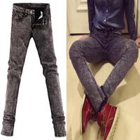 2014 spring tight fitting male slim jeans dark grey skinny pants pencil pants