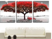 no framed! 2014 wholesale 3pcs Red White Tree paintings Modern Home Decoration Wall Art Oil Painting Abstract Natural scenery