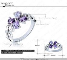 Beautiful Purple Flower Austrian Crystals SWA Elements Ring Platinum Plated Fashion Ring Wholesale 22 12mm Ri