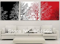 no framed! 3pcs Red White Black Tree paintings HAND PAINTED Modern Decoration Wall Art Oil Painting Abstract Art Classical