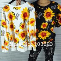 2014 Sunflower Printing Flowers Long Sleeve Sweatshirts Loose T-shirts Harajuku Style Hip-hop Fashion Women Apparel, 2 color