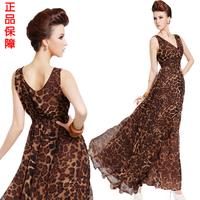 2014 new summer women's sleeveless V-neck high waist chiffon evening dress sexy fashion leopard Y0076