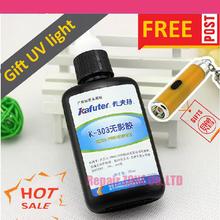 High quality kafuter UV glue K-303 ALEC shadowless glue PMMA bonding Transparent plastic, Acrylic and glass/metal(China (Mainland))