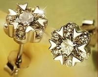 Free shiping 925 silver good quality zircon flower earring  hot sale