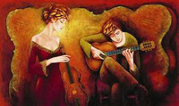 """Charles Lee - 2005 """"Guitar Serenade"""" Seriolithograph on Archival Paper with COA"""