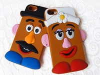 2014 new 3D silicone Mr. and Mrs. Egg couple style cell phone case for iphone 5 5s case cover  free shipping