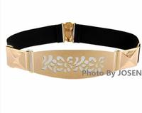 2014 Fashion Female Belts Cummerbund Elastic Waist Belt Canvas Waistband Gold Metal Buckle Belts Slim Hip Belt Ceinture Women