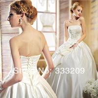 Ivory Silk Satin Wedding Dress Elegant Formal Dress 2014 Fashion Vintage Bridal Tube Top Quality Bandage Wedding Dress