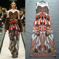 Promotion! Aramex Free Shipping Runway 2014 Summer Stunning Printed Vest Long Silk Dress Maxi Dress 140430D02