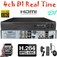 Free shipping best quality H.264 4ch HD D1 DVR audio HDMI security network digital video recorder remote view 500GB HDD harddisk