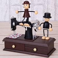 Free Shipping New Fashion Vintage Mini Sewing Machine Clockwork Style Mechanical Music Box New Year Gift