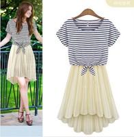 Free shipping new 2014 Za** purchasing piece striped short-sleeved T-shirt pleated chiffon dress female dovetail sling