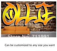 Free shipping custom modern 3D murals custom name graffiti wallpaper wallpaper sofa TV back