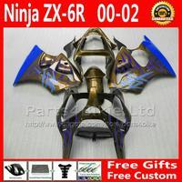 Blue flame black Motorcycle fairings for Ninja ZX6R 00 2000-2002 Kawasaki ZX-6R 636 bodywork fairing kit ZX 6R ZX636 00 01 02 +