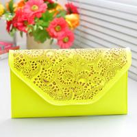 New arrival fashion cutout decorative pattern envelope clutch neon color day clutch shoulder women messenger bags women handbag