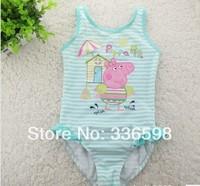 new 2014 children's swimwear peppa pig one pieces for kids strape baby girls summer swimsuit 1-6years