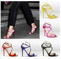 cut-outs Jimmy LANCE Yellow Neon Patent Strappy JC Sandals/Shoes Free Shipping