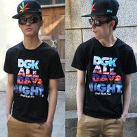 2014 summer new DGK Men universe sky blazing letters printed short sleeve T-shirt wholesale