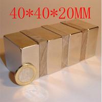 40*40*20mm,  40 mm x 40 mm x 20mm big strong block  magnet craft neodymium rare earth ndfeb strong n52 holds 60kg
