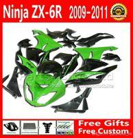 ABS Fairing body kit for Kawasaki Ninja ZX-6R 2009 2010 2011 2012 green black fairings bodywork set 636 ZX6R 09-12 ZX 6R ZX636 F