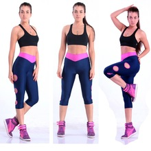 2014 New Designer Hole V Waist Gymnastics Pants Women Gym Clothes Black Jogger Pants Causal Sports Capris Stretched Yoga pants