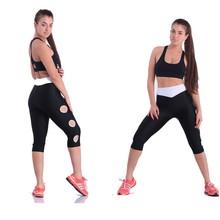 2014 New Designer Hole V Waist Gymnastics Pants Women Gym Clothes Black Jogger Pants Causal Sports