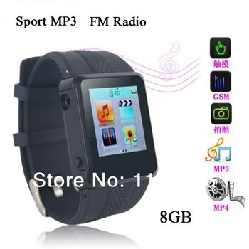 Оптовая продажа спорт наручные часы 8 ГБ mp3-плеер с диктофон чтения электронных книг FM радио бесплатная доставка