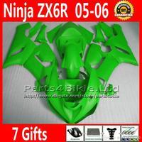 Wholesale - 7 Free Gifts racing motorcycles fairing for 05 06 ZX6R Kawasaki Ninja all green 636 ZX 6R bodywork fairings kit ZX63
