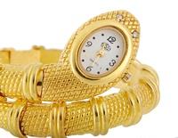 Cheap fashion women's gold Snake Shaped ladies Bracelet Watch