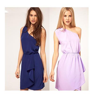 Free shipping 2014 new stunning asymmetric Greek style shoulder tunic dress(China (Mainland))