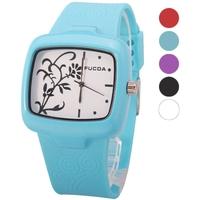FUCDA Stylish Silicone Band Quartz Movement Rectangle Dial Unisex Wrist Watch