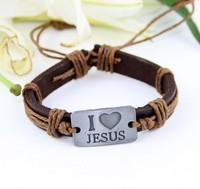 12 Pieces New Arrival I LOVE JESUS Bracelets Genuine Cowhide Bracelets Vintage Metal Accessory Christian Bracelets