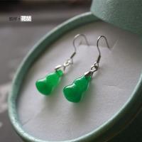 Gourd shaped malay jade earrings women's green jade earrings silver jade setting drop earring