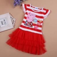 Free shipping 2014 summer new cotton peppa pig cake tutu  girls dress cartoon  baby  girls dresses children clothing