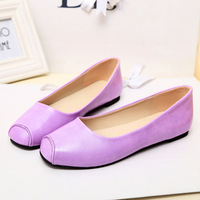 2014 spring multicolour square toe shallow mouth single shoes flat shoes boat shoes full genuine leather 100% leather dance