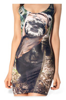 2014 black milk brand digital print black travel bear slim vest one-piece sexy dress Women's Clothing free shipping