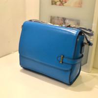 Fashion vintage 2014 brief blue genuine leather handbag one shoulder women's messenger bag female bags small bag shaping bag