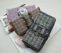 G twiny flower cloth PU fashion hardware diamond female wallet