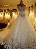 New Custom made Satin Tulle Lace Applique Beading Crystal Diamond A-Line Plus Size Wedding Dress Bridal Gown Vestido De Novia