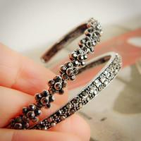 Semi-cirle vintage full rhinestone bracelet fresh small flower pattern jewelry antique silver brief silver bracelet female