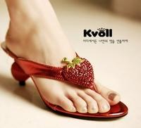 2014 korean  novelty style kvoll lady  fashion slipper sweet strawberries abnormal heel rhinestone women  high heel  flip flops
