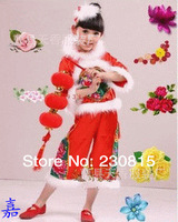 2014 New fashion personality blended Girls Costumes Performing Santa Claus Suit.