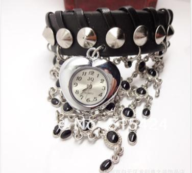 Hot Sale Coração bracelete de malha mulheres relógio relógio de couro genuíno dom relógio(China (Mainland))