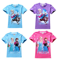 2014 new(5size/1lot) 2014 fashion Frozen children girls t shirt retails cotton kids girl tees t shirt clothing baby fashion free