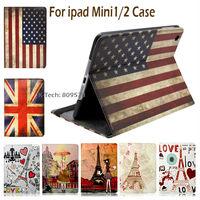 Paris Eiffel Tower Smart Stand Leather case For apple Ipad Mini / Mini 2 Retina US UK Flags Pink Girl Ferris Wheel Holder Cover