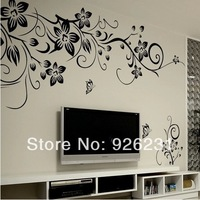 Free shipping Living room TV backdrop bedroom wall stickers romantic flowers wall stickers S size